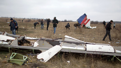Journalists look at parts of the Malaysia Airlines plane Flight MH17 as Dutch investigators (unseen) arrive at the crash site near the Grabove village in eastern Ukraine on November 11, 2014 (AFP Photo/Menahem Kahana)