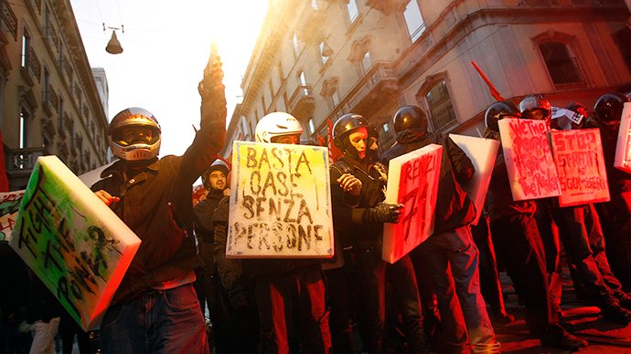 'F**k austerity': Protesters clash with cops outside ...