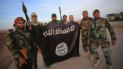 Iraqi Shi'ite fighters pose with an Islamic State flag which they pulled down on the front line in Jalawla, Diyala province, November 23, 2014.(Reuters / Stringer)