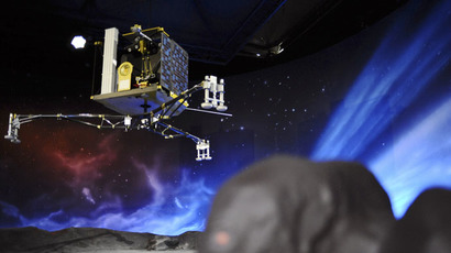 A picture shows a model of the European Space Agency's (ESA) robot craft Philae (AFP Photo/Remy Gabalda)