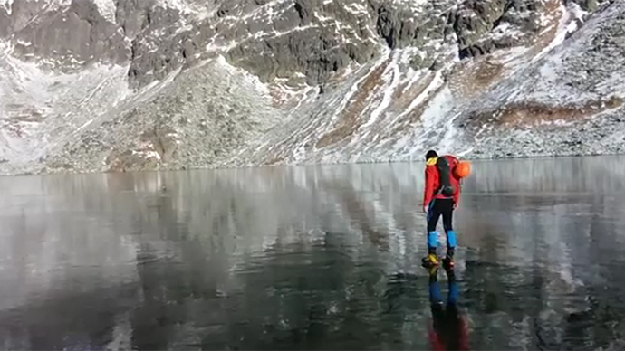 Icy Walk On Crystal Clear Mountain Lake In Slovakia Awes