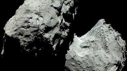 A colour image of Comet 67P/Churyumov-Gerasimenko (Credits: ESA / Rosetta / MPS for OSIRIS Team MPS / UPD / LAM / IAA / SSO / INTA / UPM / DASP / IDA)
