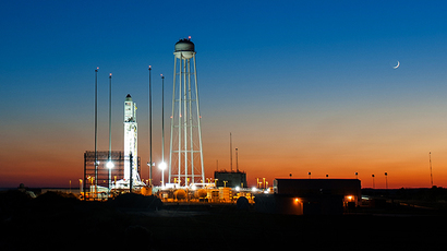 This October 25, 2014 NASA handout image shows the Orbital Sciences Corporation's Antares rocket, with the Cygnus spacecraft onboard, at sunset on launch Pad-0A at NASA's Wallops Flight Facility in Virginia. (AFP Photo / Handout / NASA / Joel Kowsky)