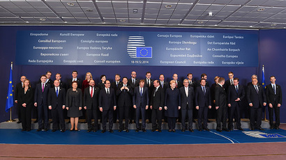 European heads of state pose for a photo during a European Council meeting in Brussels, December 18, 2014.(AFP Photo/Emmanuel Dunand)