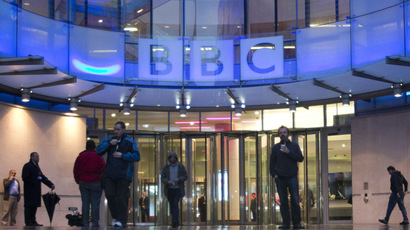 People arrive at, and leave, the BBC headquarters at New Broadcasting House in central London (Reuters/Neil Hall)