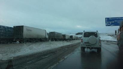 Lingering traffic jams in Russia's Rostov region cover tens of kilometers