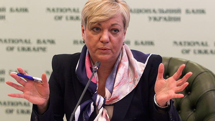 Valeria Gontareva, the head of Ukraine's Central Bank, attends a news conference in Kiev December 30, 2014 (Reuters / Konstantin Grishin)