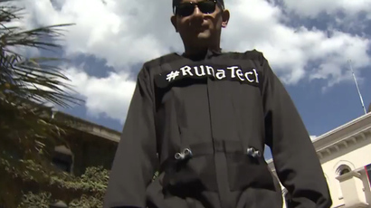 Runa Tech suit for the blind. (Screenshot from RT video)