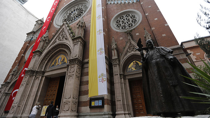 A statue of the late Pope John XXIII is seen outside the St. Antuan Catholic church before the visit of Pope Francis in central Istanbul. (Reuters/Murad Sezer)