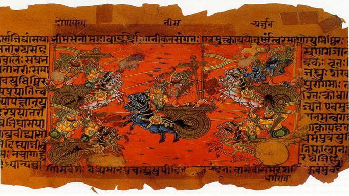 Mahabharata manuscript illustration of the Battle of Kurukshetra (Image from Wikipedia.org)