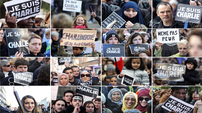 "A combination of pictures taken on January 11, 2015 shows people taking part in the Unity rally ""March Republicaine"" in various cities in France in tribute to the 17 victims of a three-day killing spree by homegrown Islamists. (AFP Photo)"