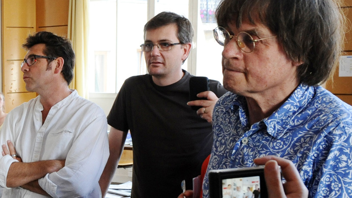 French cartoonists Tignous (L), Charb (C) and Cabu (AFP Photo / Miguel Medina)