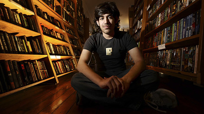 Aaron Swartz poses in a Borderland Books in San Francisco on February 4, 2008. (Reuters/Noah Berger)