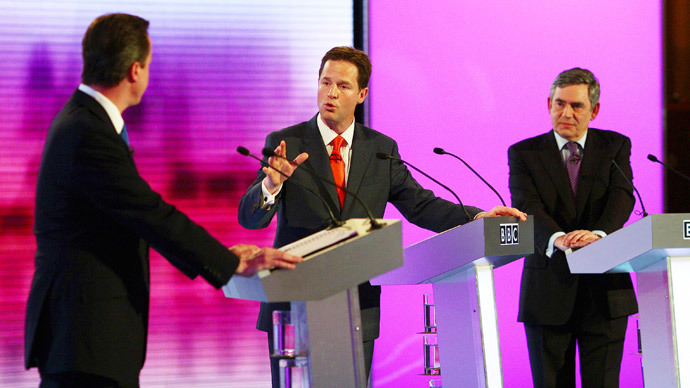 David Cameron, Nick Clegg and Gordon Brown in 2010.(Reuters / Gareth Fuller)