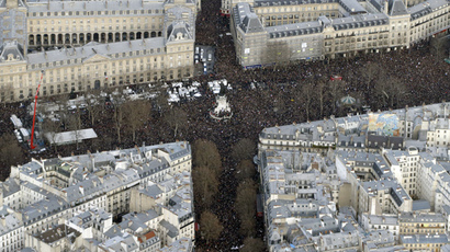 "Arial view taken on January 11, 2015 of the Unity rally ""Marche Republicaine"" at the Place de la Republique (Republique's square) in Paris (AFP Photo / Kenzo Tribouillard)"
