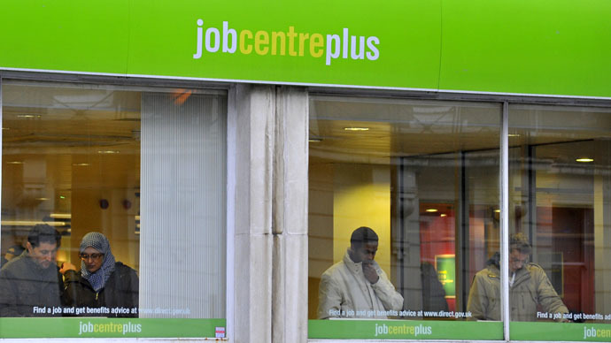 Visitors attend a state Job Centre employment office in central London (Reuters/Toby Melville)