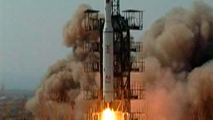 A Taepodong-2 rocket is seen being launched from the North Korean rocket launch facility in Musudan Ri.(Reuters / KRT via Reuters TV)