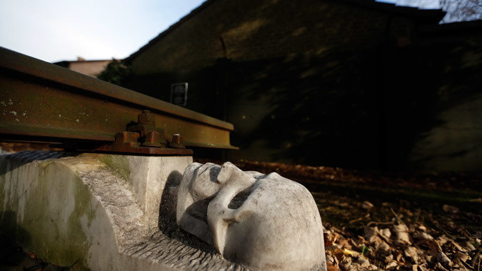 Part of a memorial to the victims of forced labour of the National Rail (Reichsbahn) workshop is seen next to a former Nazi SS guards barracks of Buchenwald concentration camp in Schwerte, near the western German town of Dortmund January 13, 2015.(Reuters / Ina Fassbender)