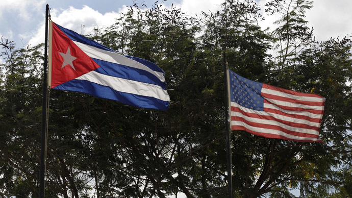 Flags of Cuba and the U.S.  (Reuters/Enrique De La Osa)