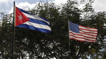 Flags of Cuba and the U.S.  (Reuters/Enrique De La Osa)