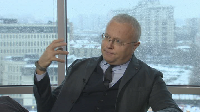 Aleksandr Lebedev, the Russian-based media mogul and owner of London Live, the London Evening Standard and The Independent (screenshot from RT video)