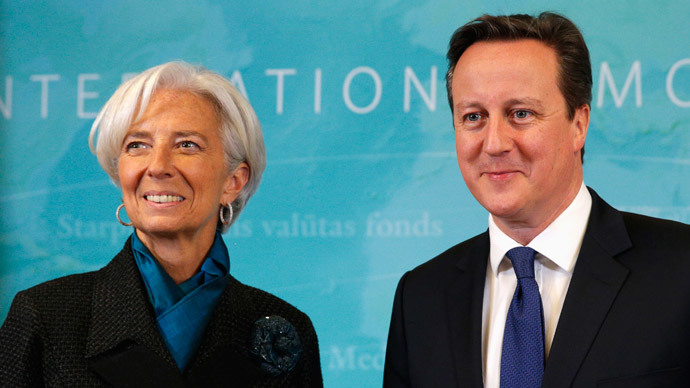 British PM David Cameron stands with International Monetary Fund (IMF) Managing Director Christine Lagarde.(Reuters / Kevin Lamarque)