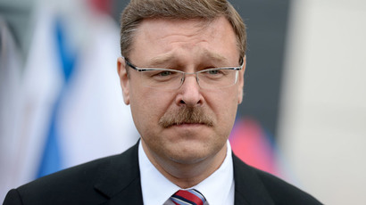 Chairman of the Upper House committee for foreign affairs, Konstantin Kosachev at the opening of Russia's Science and Culture Center in Brest, Belarus.(RIA Novosti / Evgeny Biyatov)