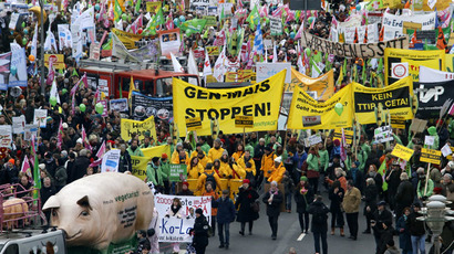 German farmers and consumer rights activists take part in a march to protest against the Transatlantic Trade and Investment Partnership (TTIP), mass husbandry and genetic engineering in Berlin, January 17, 2015. (Reuters/Fabrizio Bensch)