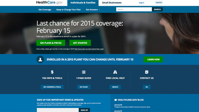 ​Obamacare site is tracking users – report