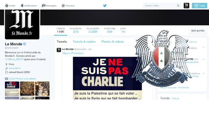 Le Monde Twitter account hacked by Syrian Electronic Army