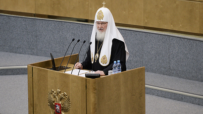 Patriarch Kirill of Moscow and All Russia gives a speech in the Russian State Duma (RIA Novosti / Maksim Blinov)