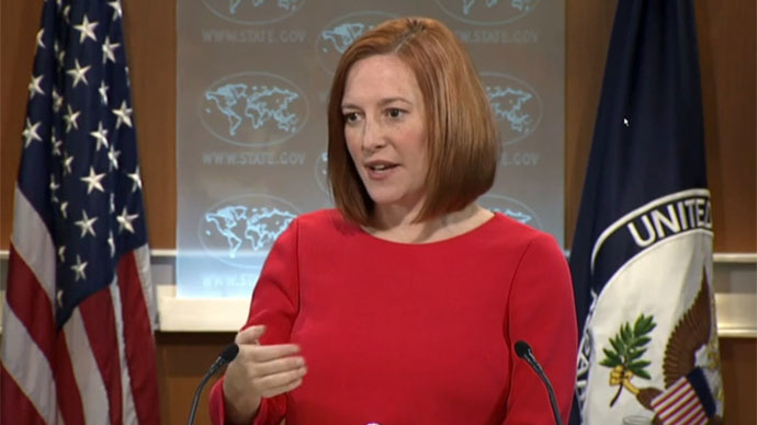 US State Department spokeswoman Jen Psaki (Still from RT video)