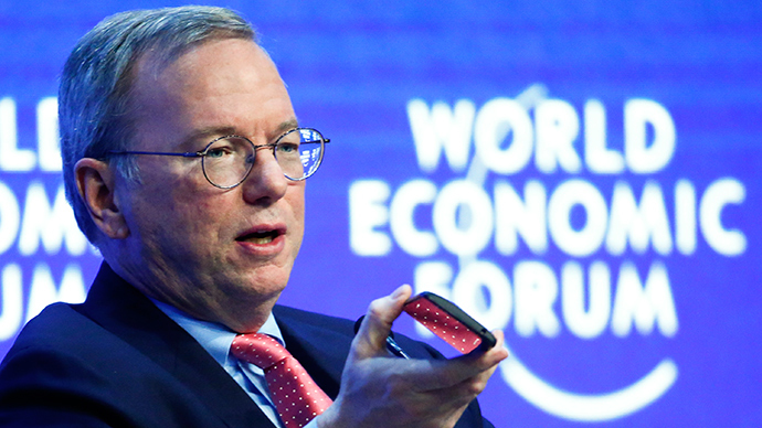 "Eric Schmidt, Executive Chairman of Google, speaks during the session ""The Future of the Digital Economy"" in the Swiss mountain resort of Davos January 22, 2015 (Reuters / Ruben Sprich)"
