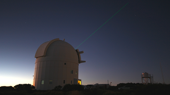 ESA's Optical Ground Station laser tags ISS (Image from esa.int)