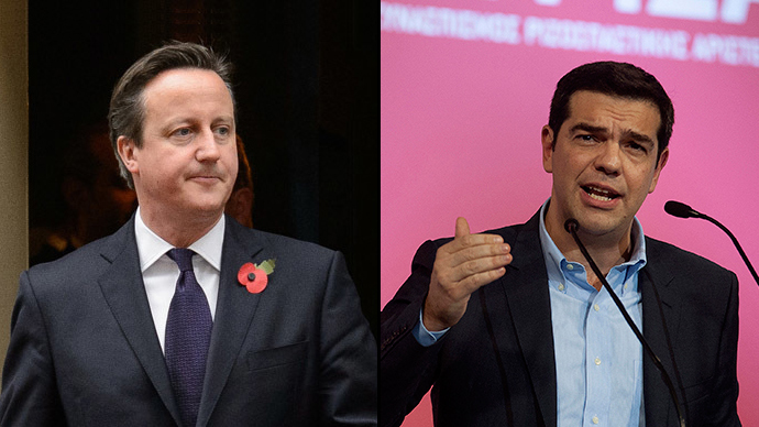Alexis Tsipras, opposition leader and head of radical leftist Syriza party (R) and British Prime Minister David Cameron (L) (Reuters)