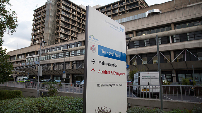 A sign is displayed outside of the Royal Free Hospital in north London (Reuters / Neil Hall)