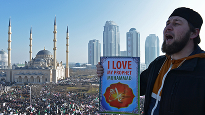 Believers during a protest rally held in Grozny against publications of Prophet Mohammad caricatures (RIA Novosti / Said Tsarnaev)
