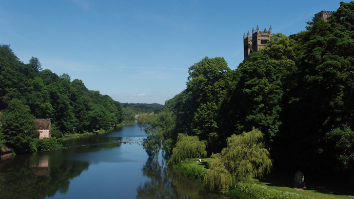 The wooded riverbanks of the Wear as it flows through Durham (Image from wikipedia.org)