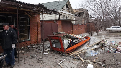 Residential buildings damaged during a shelling of Mariupol. (RIA Novosti/Nikita Sergeyev)