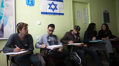 Newly arrived immigrants from France (from L to R) Jonathan Arbibe from Nice and Samuel Chemama, Alexandre Pequito, Myriam Bibas and Aurelie Serraf, all of whom are from Paris, study Hebrew at Ulpan Etzion, the original residential school and absorption centre, which has taught Hebrew to tens of thousands of immigrants since 1949, in Jerusalem, January 20, 2015 (Reuters / Ronen Zvulun)