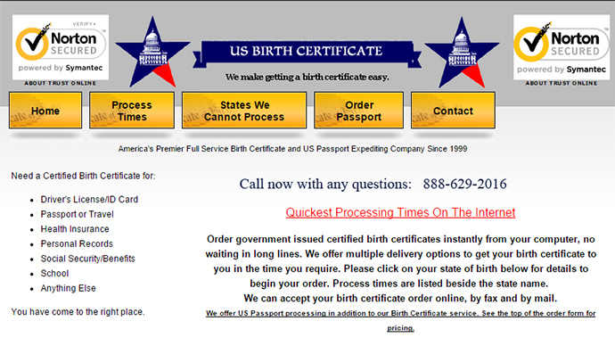 Screenshot from usbirthcertificate.com