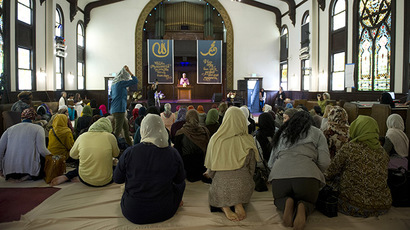 Muslim women kneel for the prayer service at the Women's Mosque of America in downtown Los Angeles, January 30, 2015. (Reuters/Lori Shepler)