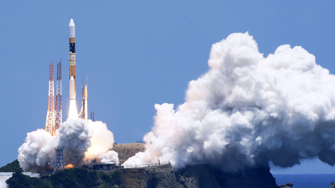 A H-2A rocket carrying Daichi-2, an all-purpose earth-surveying satellite tasked with helping to map the planet and aiding with disaster recovery, blasts off from the launching pad at Tanegashima Space Center on the Japanese southwestern island of Tanegashima, in this photo taken by Kyodo May 24, 2014. (Reuters / Kyodo)