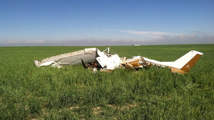 The pilot of this small plane was taking selfie pictures with a cellphone when it crashed (Reuters/Sgt Aaron Pataluna/Adams County Sheriff/handout)