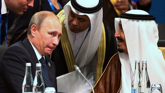 President of Russia Vladimir Putin (L) and Crown Prince Salman bin Abdulaziz Al Saud (R) of Saudi Arabia talk through their interpreters during a plenary session at the G20 leaders summit in Brisbane November 15, 2014 (Reuters / Rob Griffith)