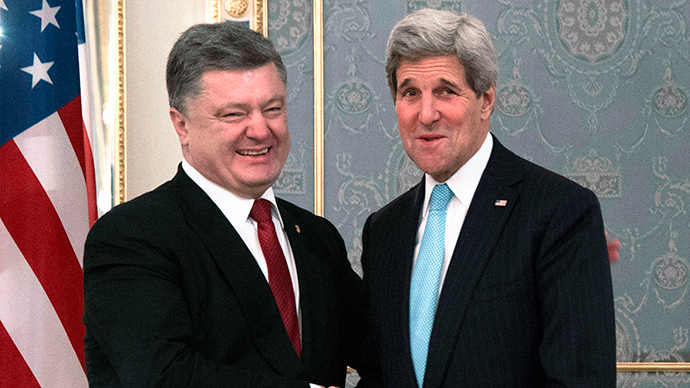 Kerry in Kiev: Shifting blame from Poroshenko govt as US mulls arms for Ukraine