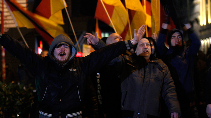 Patriotic Europeans Against the Islamisation of the West (PEGIDA), protest during a demonstration against Islamisation in Cologne January 14, 2015 (Reuters)