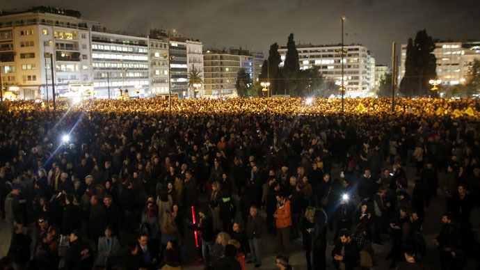 Greeks take to the streets to support government's anti-austerity stance