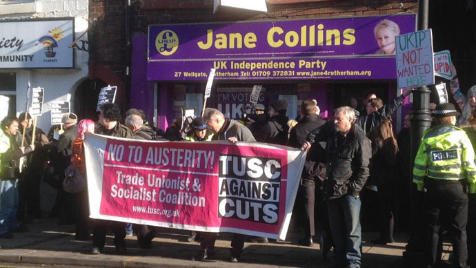 ​'No to racism, no to bigotry': Protesters trap Farage in Rotherham UKIP office