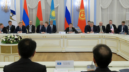 February 6, 2015. Prime Minister Dmitry Medvedev, back center, at the first session of EEU Intergovernmental Council at the Gorki residence. (RIA Novosti/Alexander Astafyev)